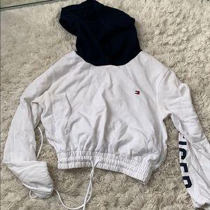 Tommy Cropped Sweatshirt Hoodie white